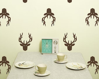Deer Mount Vinyl Wall Decal, Deer Head Trophy- 10 graphics, Wallpaper, Stickers, item 10035