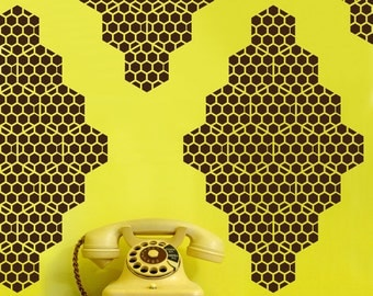 Honey Bee Diamonds Vinyl Wall Decals - 10 Graphics, Vinyl Wall Graphics, Bees, Hexagon, Wallpaper, Stickers,  item 10037