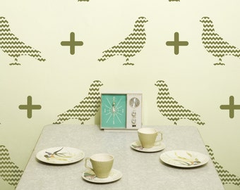 Chevron Pattern Bird Graphics, Vinyl Wall Decal- 20 graphics, Wallpaper, Stickers, item 10039