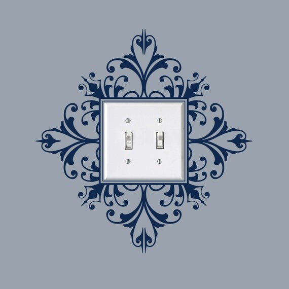 Scroll damask light switch embellishment double item 30024 for Decoration or embellishment crossword