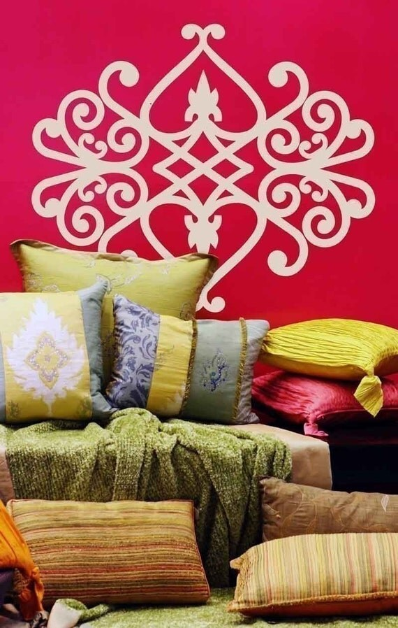 Large Antique Iron Graphic Vinyl Wall Decal,  Vinyl Wall Graphic, Damask, Sticker, item 30003