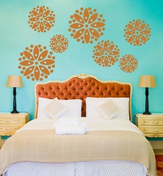 Vinyl Wall Decals- 7 Large Dotted Flower Graphics, Wallpaper, Stickers, item 10017