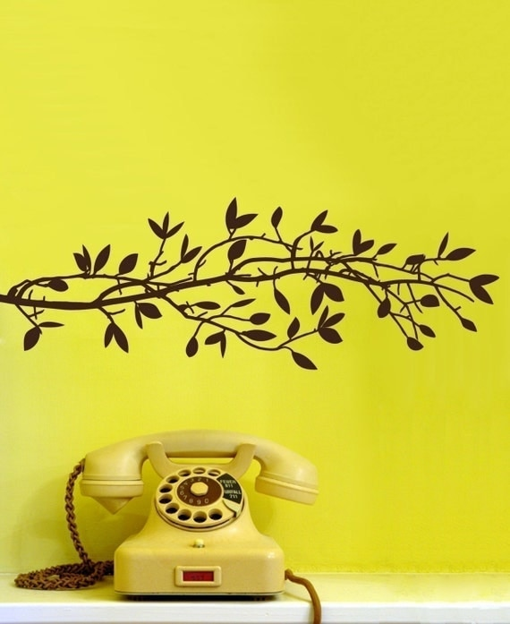 SALE-  Small Leafy Branch Graphic item 30022 Vinyl Wall Decal, Sticker