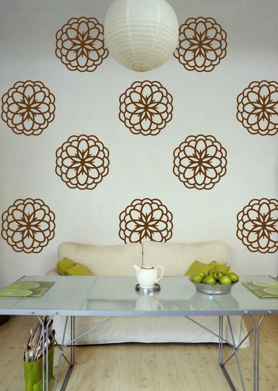 Flower Vinyl Wall Pattern Decals, Flower Burst- 10 Graphics, Vinyl Wall Graphics, Wallpaper, Stickers, item 10025