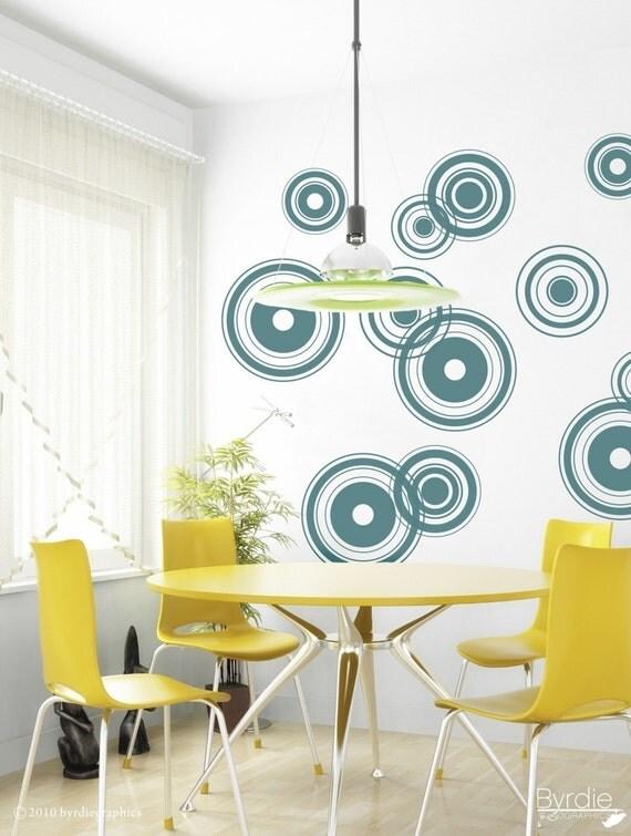 Retro Bullseye Circles Vinyl Wall Decal, Retro Bullseyes - 12 graphics, Wallpaper, Stickers, Vinyl Wall Graphics, item 10001