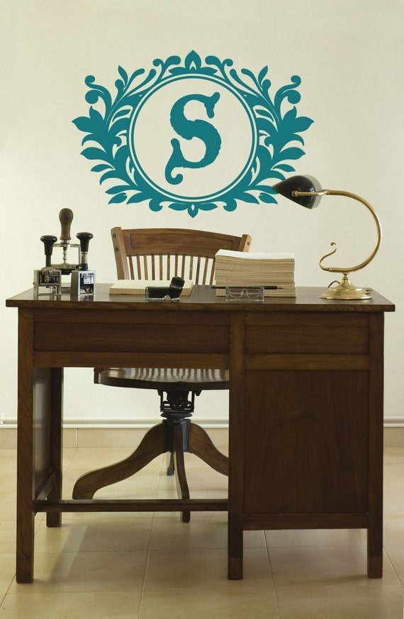 Initial Monogram Vinyl Wall Decal, Vintage Design, Wall Graphic, Custom Initial, Sticker, item 50001