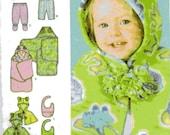 Simplicity 4434 Babies Top, Pants, Caplet, Bib and Blanket Wrap, size up to 18 months, destash, cut