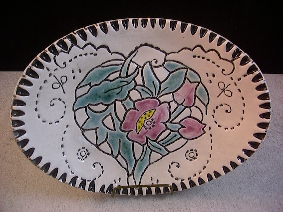 Ceramics, Art Pottery, Home Decor, Soap Dish, Candy Bowl, Spoonrest, Ring Tray, Rose and Turquoise, Handpainted