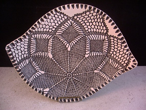 Leaf Shaped Bowl, Plate, Dish, Black and White, Ceramic Art Pottery, Serving Tray, Home Decor, by Dana Morton