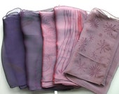 Handprinted, Iridescent Silk Chiffon Scarf, 6mm, 10 x 54 inches - Plum Purple series
