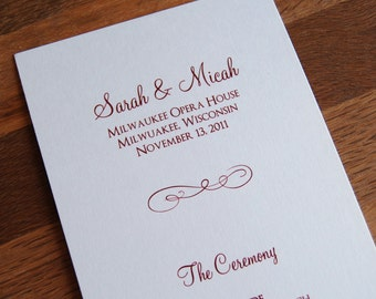 Flourish Design - Tea Length, Flat Wedding Programs