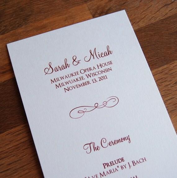Flourish Design - Tea Length, Flat Wedding Programs