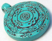 Turquoise Celtic Zoological Pendant Hand Patinated High Fire Clay