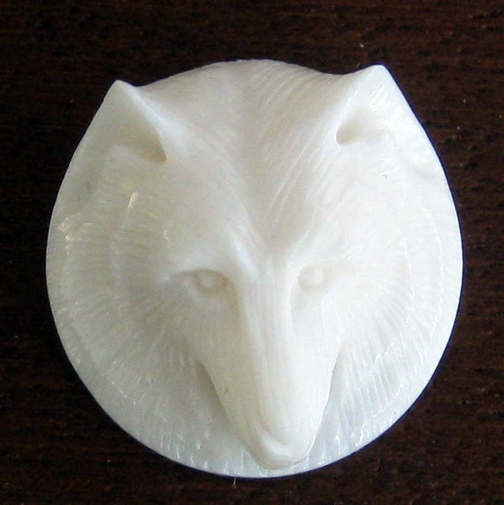 Carved  Bone Wolf Face Cabachon 18x7mm 1 pc