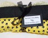 Mizzou Tigers baby burp cloths set of 2 - black and gold paw prints, black dot with chenille back