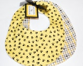 Mizzou Tigers baby bib set of two - black and gold paw print with plaid each backed in cotton terry velour