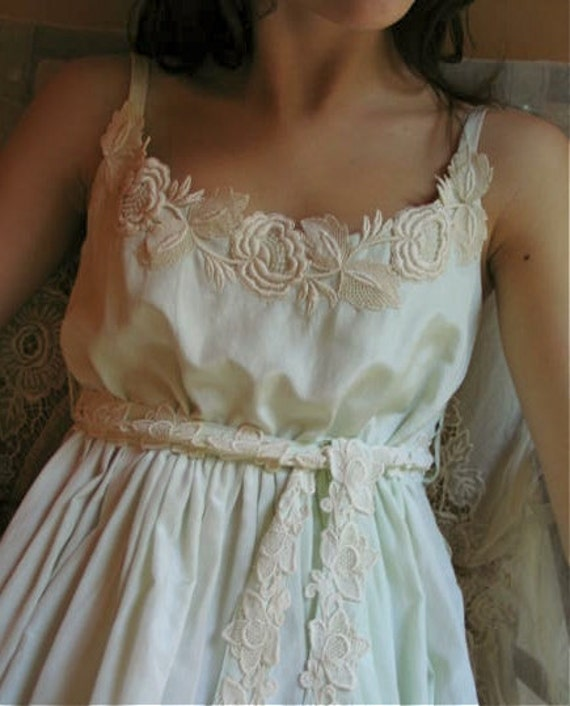 Silk Cotton Nightgown with Vintage Lace in Pastel Mint  Size SMALL