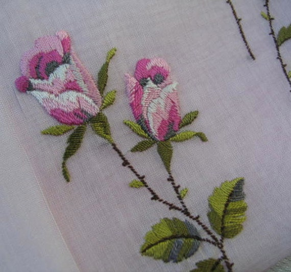 Embroidered Linen Handkerchief in Pink with Roses from Mallorca, Original Label