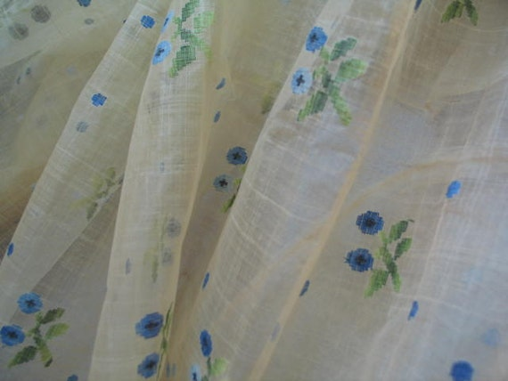 Embroidered Organza with Blue Flowers 3 Yards Plus