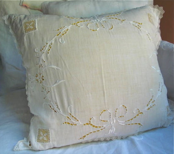 Embroidered White Linen and Lace Pillow Cover