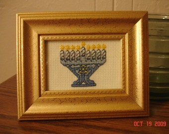 FREE SHIPPING - Framed Cross-Stitched Menorah