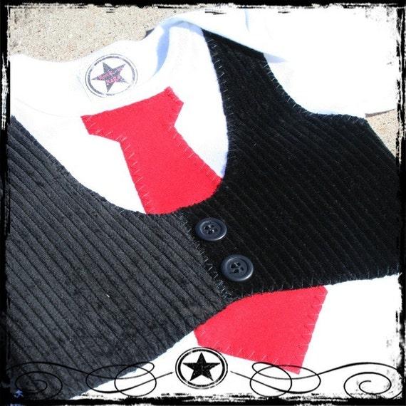 0-3M -- Black Corduroy Vest -- Red Tie -- White Short Sleeve Bodysuit