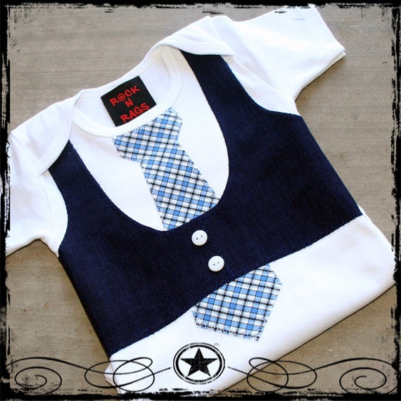 12-18M -- Navy Vest -- Blue plaid Tie -- White Short Sleeve Bodysuit