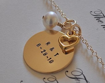 Bride and Grooms Initials and Wedding Date on Gold or Silver