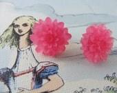 chrysanthemum earrings- PINK