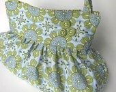 Ruffled Abigail Bag in Blue and Green Flowers and Circles