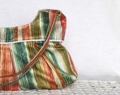 Handbag. Purse. Bag. Striped Shelly Bag in Orange, Green, Yellow, Brown. Women Fashion. Rustic Fashion. For Her.