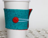 Coffee Cozy.  Reusable. Earth Friendly. Tea Cozy in Aqua and Red. Bright Blue. For Her. For Him. Stocking Stuffer. Eco. Felt.