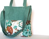 Tote Bag Briefcase. Canvas. Kara Tote in Teal Green and Coffee Brown Floral Leaves Large Handbag. Purse. For Her. Fall Autumn Fashion.