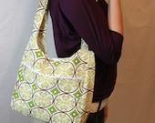 Hand Bag Purse, Willa Bag in Garden Green and Yellow Circles. Spring Garden. Garden Fashion.