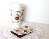 Cyber Monday Etsy Christmas Woodland Coffee Cozy and Tea Wallet Gift Set. Teacher Gift Idea. Card Holder. Stocking Stuffer.