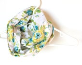 Infinity Scarf.  Circle Cowl Scarf.  Spring Floral. For Her. Cotton. Women Fashion. Fashion Accessory. Solar Yellow. Turquoise.