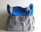 Cyber Monday Etsy Large Color Block Mary-Jane Tote Bag.  Oversized Purse or Diaper Bag. Bright Solid Blue and Gray Canvas Bag.