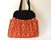 Tangerine Tango Geometric Show Off Bag. Large Purse. Oversize Handbag. Summer Fashion Accessory. Women Fashion. For Her. Black Orange.
