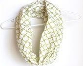 Infinity Scarf.  Oranic Circle Cowl Scarf. Geometric Green. For Her. Cotton. Women Fashion. Loop Scarf. Preppy. Autumn Fashion.