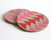 Leather and Cork Hand Stamped Coasters.  Tribal Pattern in Pink and Red.  Mug Coaster. Home Decor. Shimmer.