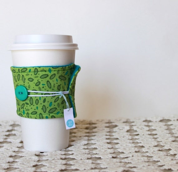 Coffee Cozy.  Reusable Earth Friendly Coffee Cup Cozy in Teal and Bright Green. For Her. For Him. Unisex. Tea Cozy.