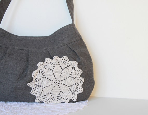 Spring Fashion. Handbag. Purse. For Her. Wool Bag with Crocheted Doily.  Women. Buttercup Bag. Shabby Chic. Warm. Gray. Grey.