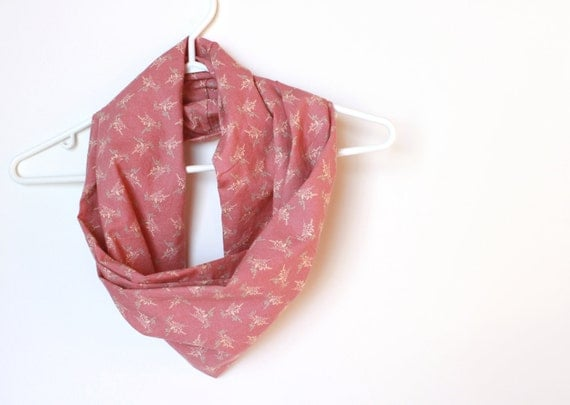 Infinity Scarf.  Circle Cowl Scarf.  Spring Pink. For Her. Cotton. Women Fashion. Fashion Accessory. Honeysuckle Pink. Birds. Preppy