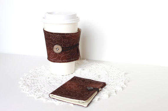 Coffee Cozy and Tea Wallet Set.  Chocolate Brown. Gift Card Holder. Business Card Holder. Valentine Gift Idea. For Her. For Him. Unisex.