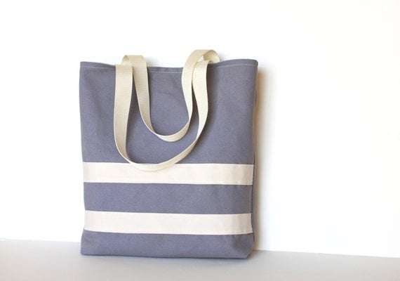 Simple Canvas Tote Bag.  Nautical Book Bag. Sea Blue & White. For Her. For Him. Unisex. Purse. Carry All. Heavy Duty. Fathers Day