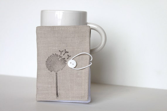 Linen Hand Stamped Tea Wallet.  Condiment, Gift Card, Or Business Card Wallet in Tan Linen. Gray. Grey.
