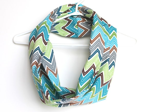 Tribal Infinity Scarf. Cowl Scarf. Organic Cotton. Chevron Pattern. Bright Teal, Aqua, Lime Geen, and Brown. Summer Blue.