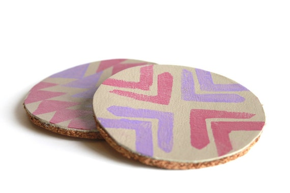 Leather and Cork Hand Stamped Coasters.  Tribal Pattern in Lavender and Pale Pink.  Mug Coaster. Home Decor. Shimmer. Purple.