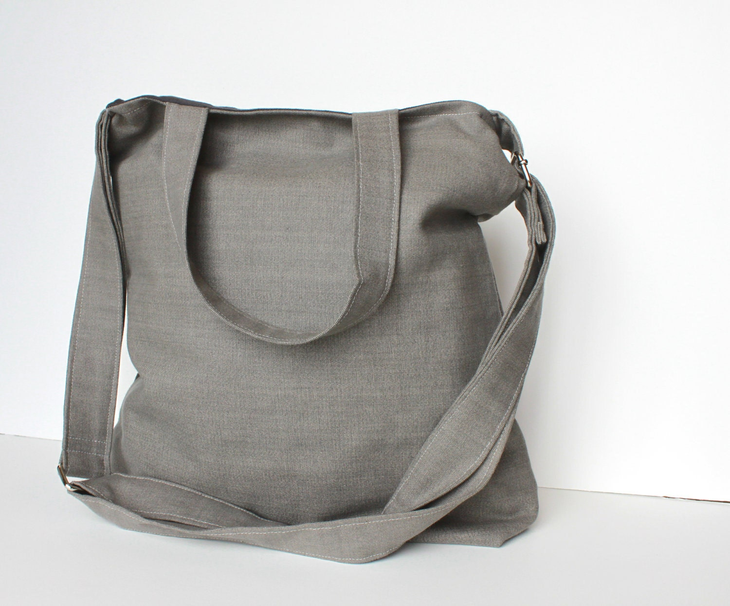 Travel Bag. Briefcase. Purse. Canvas Tote in Solid Silver
