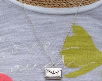 Sterling Silver Envelope Locket With Heart Necklace
